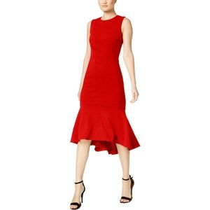 CALVIN KLEIN WOMEN'S SLEEVELESS HI-LOW PARTY DRESS
